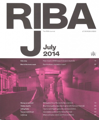 THE RIBA JOURNAL juli 2014, 'Sunken Treasure'